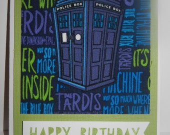 Dr. Who Birthday Card - Handmade