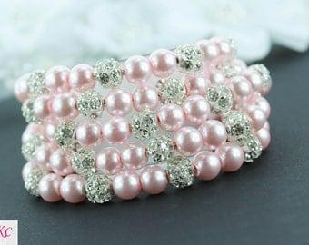 Bridal Cuff Bracelet - Blush Pink Bridal Bracelet - Blush Wedding Jewelry - Blush Bridesmaid Jewelry - Blush Cuff Bracelet - Bridal Cuff