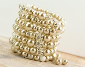 Champagne Bridal Bracelet Pearl Cuff Bracelet Bridal Jewelry Chunky Pearl Bracelet Pearl Crystal and Pearl Bracelet Pearl Bridesmaid Jewelry