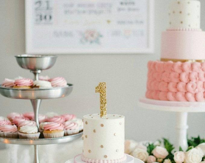 Glitter Number 1 Cake Topper | Cake Number | Number Topper | Birthday Cake | Cake Smash  | 40th Birthday | 30th Birthday | 1st Birthday