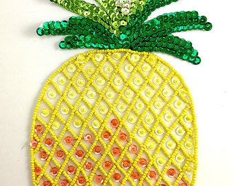 """Pineapple Appliqué, Sequin Beaded, Choice of Size 10"""" or 5.5""""  -B085-B087"""