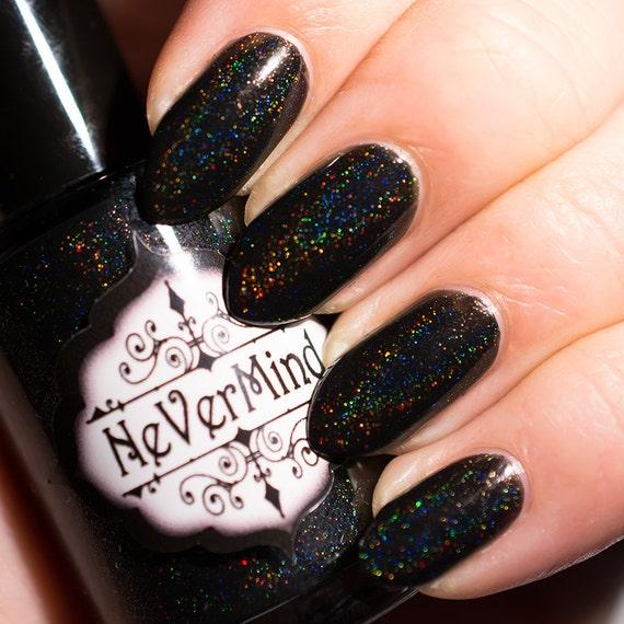 Dark Holographic Nail Polish: Black Linear Holo Nail Polish Holographic Nail Lacquer
