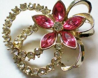 Pink Flower Rhinestone Pin - 4582