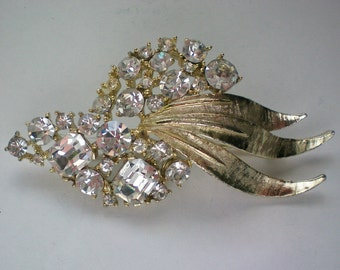 HUGE BSK Emerald & Round Rhinestone Brooch - 4588