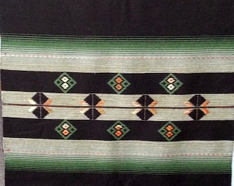 Very beautiful long hand-woven tapestry of dark brown green and beige colors from Scandinavian / Sweden 1940s.