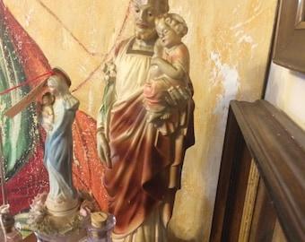 Vintage Religious Statue Plaster Joseph Holding Jesus Statue Religious Relic, Casting