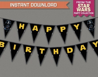 Star Wars Party Printable Birthday Banner with Spacers - Editable PDF file - Print at home - Star Wars Birthday - Star Wars Banner