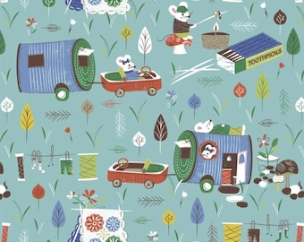 Mouse camper fabric - Windham Fabrics cotton fabric - Campers
