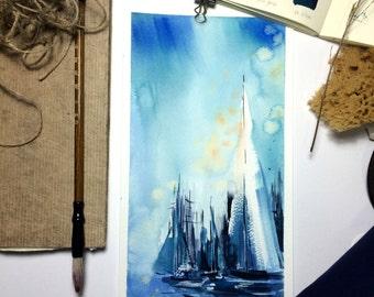 Nautical Watercolor Painting, Original Painting, Sailboats Painting, Seascape Painting, Blue Painting, Night Sky and Stars