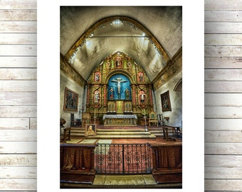 QUIET TIME -Carmel - historic architecture -Church Photo - Landscape Photography -Fine Art Photograph-Limited Edition of 250