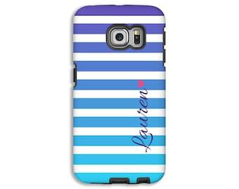 Samsung Galaxy S7 Edge case/S6 Edge case, ombre stripes Galaxy S7 case/S6 case, purple and aqua stripes Galaxy S5 case, 3D tough Galaxy case