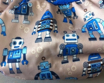 Blue Robot Cloth Diaper Cover