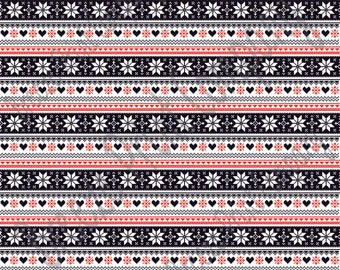 Black, red and white Christmas pattern craft  vinyl sheet - HTV or Adhesive Vinyl -  Nordic knitted sweater pattern HTV3604