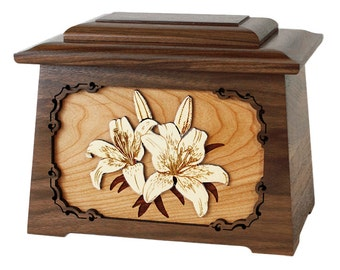 Walnut Lilies Astoria Wood Cremation Urn