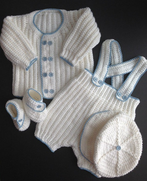 Easy Crochet Baby Boy Clothes Patterns : Baby Boy Crocheted Christening Outfit