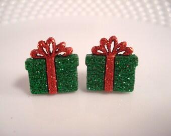 Green Christmas Present Earrings - Holiday Present Earrings - Christmas Earrings - Holiday Earrings - Women's Festive Earrings