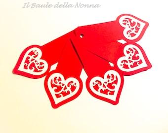 "Placeholder bookmark gift tag 5 set ""Valentine"" (article 70)"