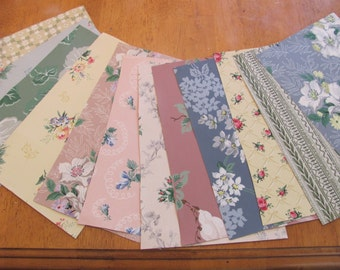 "Lot of 12 Wallpaper Sheets Large Size 13"" x 8"" Each - Assorted Pattern Designs (#09) Scrap Book"