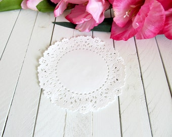 White 5 inch Normandy Lace Paper Doilies - paper doilies, lace paper doilies, paper lace doilies, white paper doilies, paper embellishments