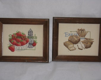 Pair of vintage framed needlepoint pictures smalls bread strawberries kitchen decor
