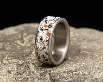 Natural White Buffalo Turquoise Inlay Titanium Wedding Band or Ring