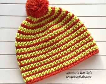 Cap with Pompon / Orange and neon yellow