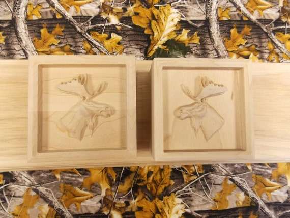 Pair of moose corner blocks woodland rosette trim block