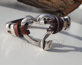 dark  brown Leather Bracelet with heart