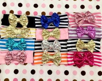 Sequin Bow Little Girls Head Wrap Head Bands