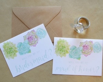 Will You Be My Bridesmaid Card Set - Bridal Party Cards - Will You Be My Maid of Honor Cards - Watercolor Bridal Party Cards