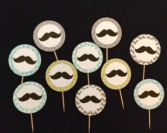 Mustache Party Cupcake toppers