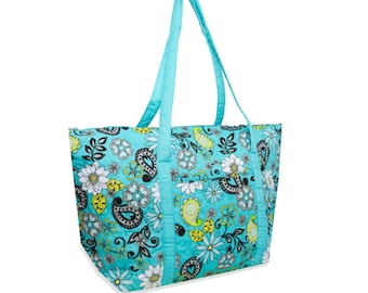 Quilted Tote Bag Mint Paisley Large
