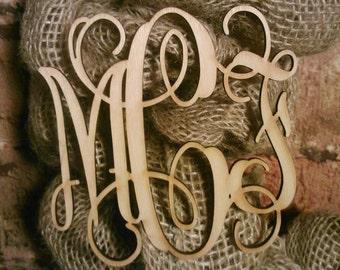 6 inch Wooden Laser Cut Vine Monogram