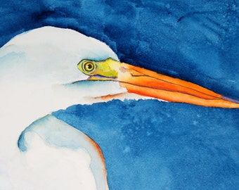 original bird painting bird art portrait Intense Egret watercolor painting by Betty Moore