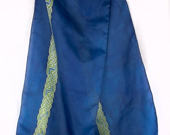 Green and Blue Celtic Stripe Handpainted Silk Scarf