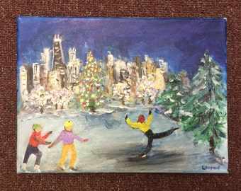 Skaters - Chicago Cityscape -- 8 X 10 Original Painting on Canvas