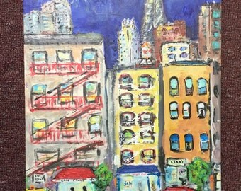 Fire Escape By Night - Original Painting 12 X 16