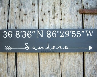 Coordinates Wood sign Personalized Last Name