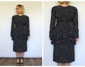 Vintage 1980's Black and White Polka Dot Peplum Dress 12 14 M L UK