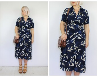 Vintage 1980's Navy Blue Leaves Pattern Button Down Dress