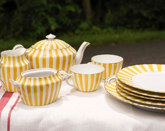 Vintage Yellow Striped Dishes