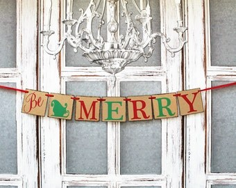 CHRISTMAS BANNERS - HOLIDAY Decorations - Christmas Be Merry SignS - Santas Sleigh