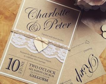 Handmade Wedding Invitation, Rustic wedding invitation, Vintage wedding invitation, Shabby chic invitation, lace wedding invitation,