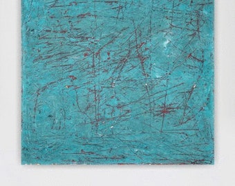 Wall art canvas large abstract painting teal blue turquoise red big huge painting contemporary minimalist modern