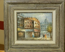 Caroline Burnett Oil on Canvas Painting. Paris Scene, Early 20th Century