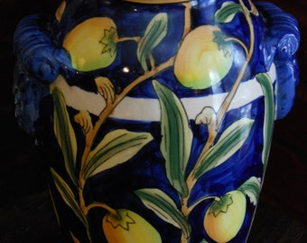 Dark Blue Asian-Themed 8-Inch Vase