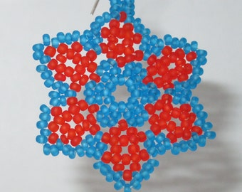 Small Starflower Earrings - Dark Aqua, Dark Orange