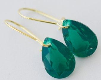 Green dangle earrings, drop earrings, gold plated