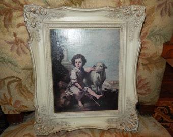 VINTAGE PRINT of Shepherd Boy in Ornate Frame