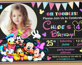 Minnie mouse Birthday Invitation, Minnie mouse Invitation, mickey mouse clubhouse birthday invitation- Digital file